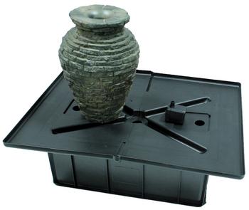 Mini stacked slate urn fountain fiberglass stone composite for 7194 garden pond