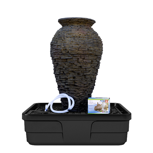 Medium Stacked Slate Urn Fountain Kit Fiberglass Stone
