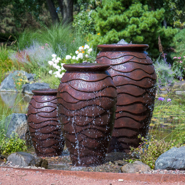 Scalloped Urn Fiberstone Fountains Small, Medium, Large