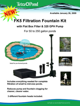 TetraPond FK3 Filtration Fountain Kit with Pre-filter and 325 GPH Pump