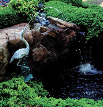 Beckett pond spitter crane spitter for Ultimate koi clay