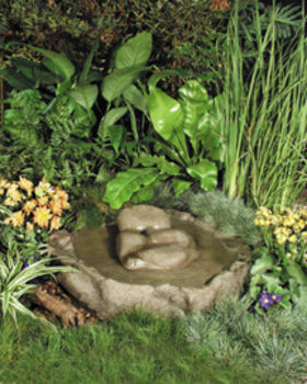 Bird bath pebble bubbler waterfalls boulders for Ultimate koi clay