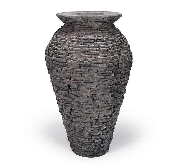Small Stacked Slate Urn   Fiberglass Stone Composite