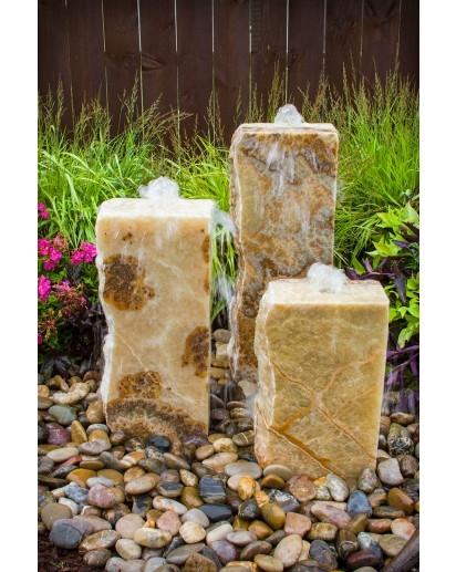 Yellow Onyx Triple Fountain Kit | Stone Fountains