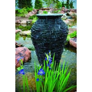 Small Stacked Slate Urn by Aquascape | Fiberglass Stone Composite