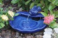 Image Solar Small Koi Spouting Fountain Glazed Blue Ceramic by Smart Solar