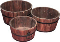 Image Wooden Barrel Planters 3/Set