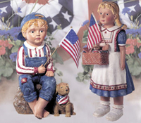 Image Patriotic Boy and Girl Statuary