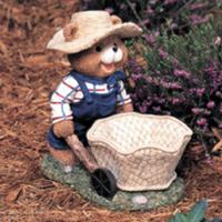 Image Bear with Wheelbarrow Planter