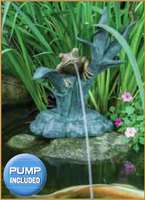 Image Poly-Resin Frog on Reed Spitter by Aquascape