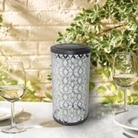 Image Frosted Fretwork Cylinder Solar Lantern