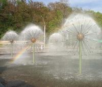 Image Bronze Sphere Fountain Spray
