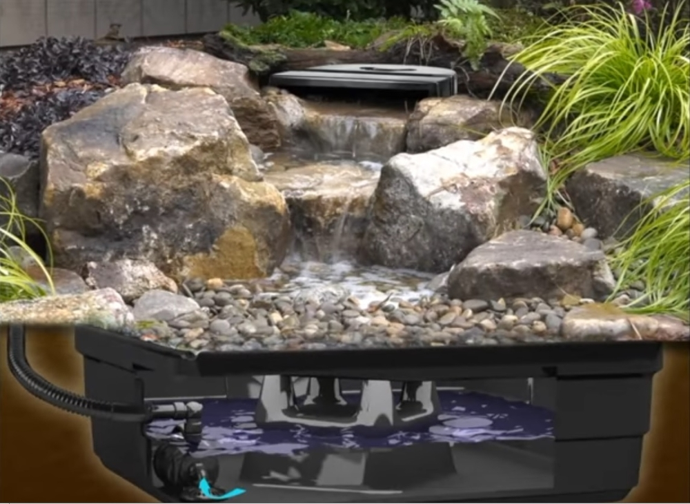 Backyard waterfall landscape fountain kit aquascape pond for Garden pond pump setup
